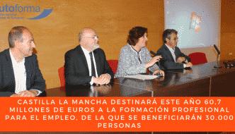 Castilla la Mancha destinará este año 60,7 millones de euros a la formación profesional para el empleo, de la que se beneficiarán 30.000 personas