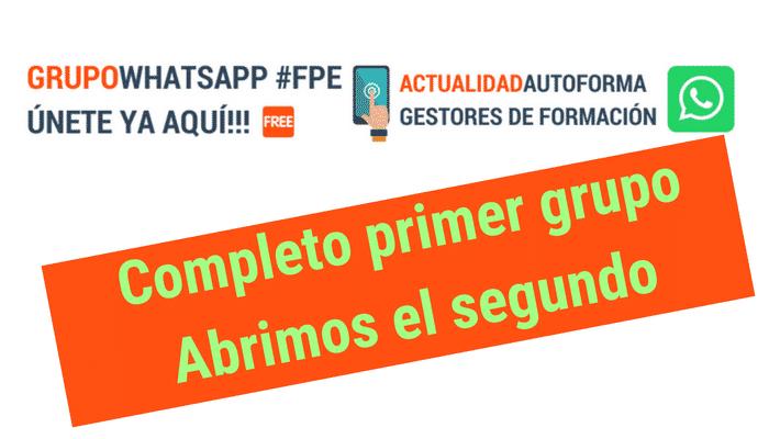 Abrimos el segundo grupo abierto de WhatsApp de Autoforma al completarse (256) el primero