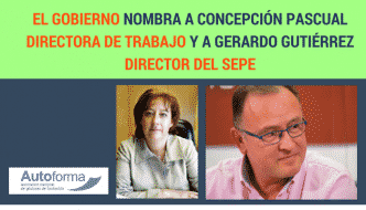 El Gobierno nombra a Concepción Pascual directora de trabajo y a Gerardo Gutiérrez director del SEPE