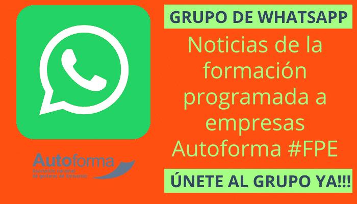 Grupo de WhatsApp – Noticias de la formación programada a empresas – Autoforma #FPE
