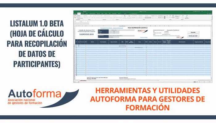 Listalumn – hoja de cálculo para recopilación de datos de participantes
