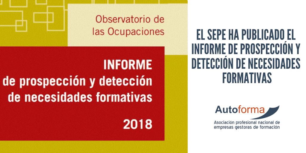 El SEPE ha publicado el informe de prospección y detección de necesidades formativas