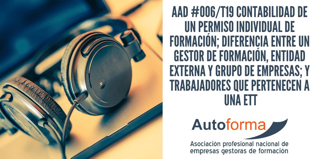 AAD #006/T19 Contabilidad de un permiso individual de formación; diferencia entre un gestor de formación, entidad externa y grupo de empresas; y trabajadores que pertenecen a una ETT