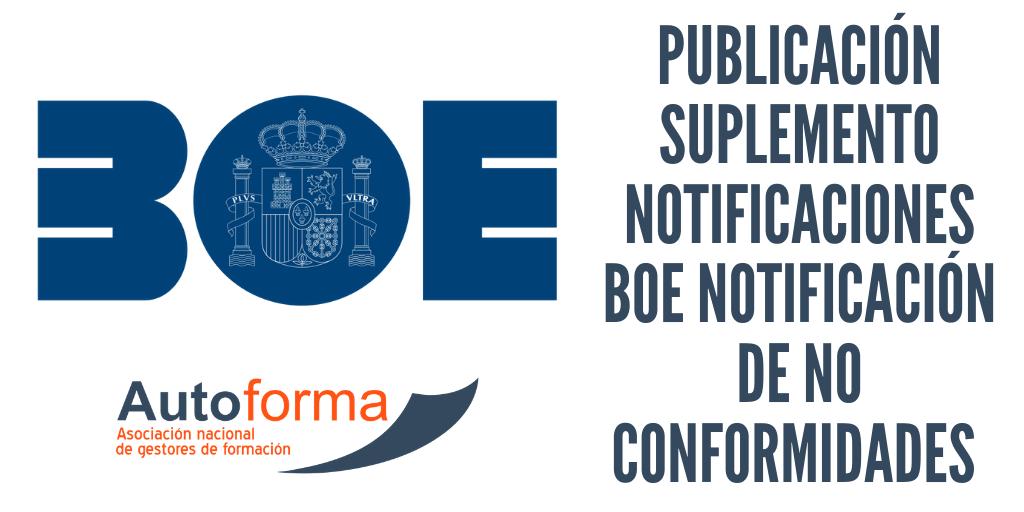 BOE 03-05-19: Notificación de no conformidades del 2016