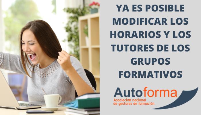 Ya es posible modificar los horarios y los tutores de los grupos formativos