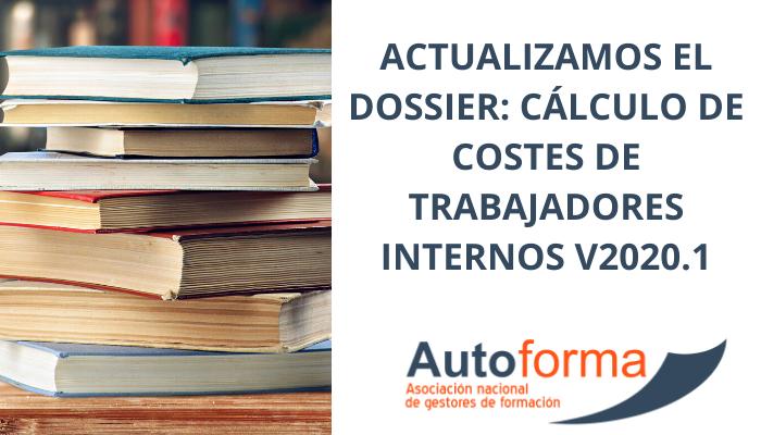 Actualizamos el Dossier: Cálculo de costes de trabajadores internos V2020.1