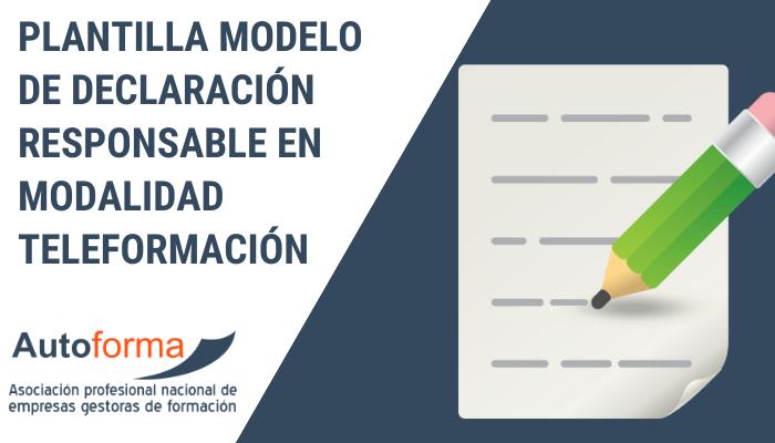 Plantilla modelo de Declaración responsable en modalidad  teleformación